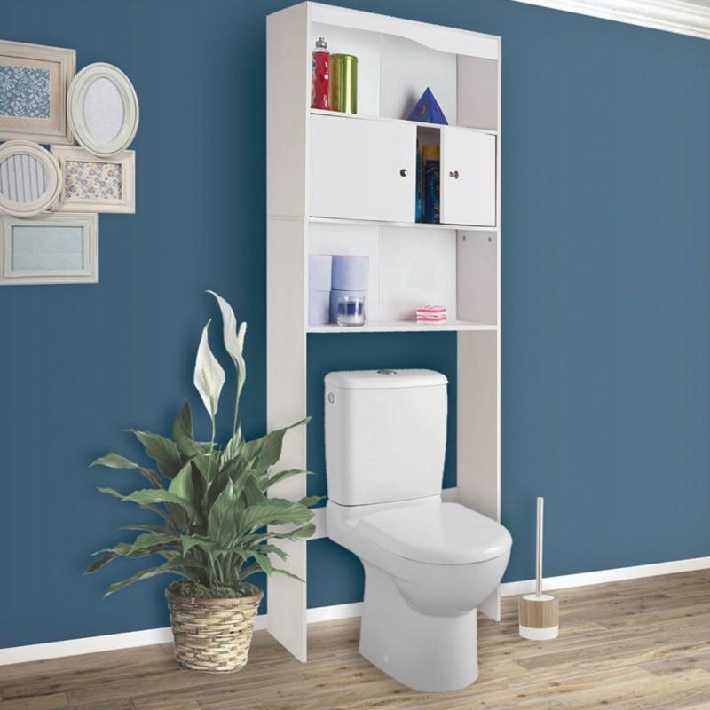 Meuble tag re dessus wc en bois blanc cm meubles et - Etagere machine a laver ...