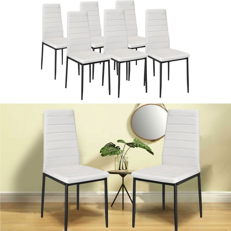 lot de 6 chaises romane blanches pour salle manger ebay. Black Bedroom Furniture Sets. Home Design Ideas