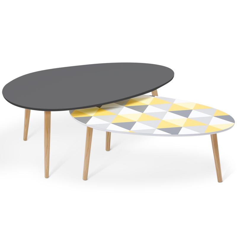 lot de 2 tables basses gigognes laqu es gris motifs blanc. Black Bedroom Furniture Sets. Home Design Ideas