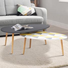Lot de 2 tables basses gigognes scandinaves laquées grise et à motifs blanc jaune