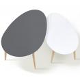 Lot de 2 tables basses gigognes scandinaves laquées GM grise et PM blanche