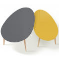 Lot de 2 tables basses gigognes scandinaves laquéesgrise et jaune