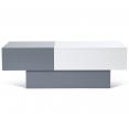 Table basse coulissante Maria blanc et gris