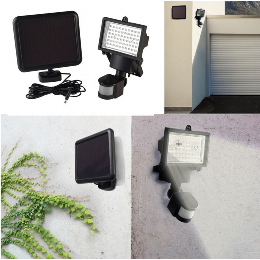 projecteur solaire 60 leds avec d tecteur de mouvement. Black Bedroom Furniture Sets. Home Design Ideas
