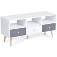 Meuble TV Effie vintage 3 tiroirs bois blanc et gris