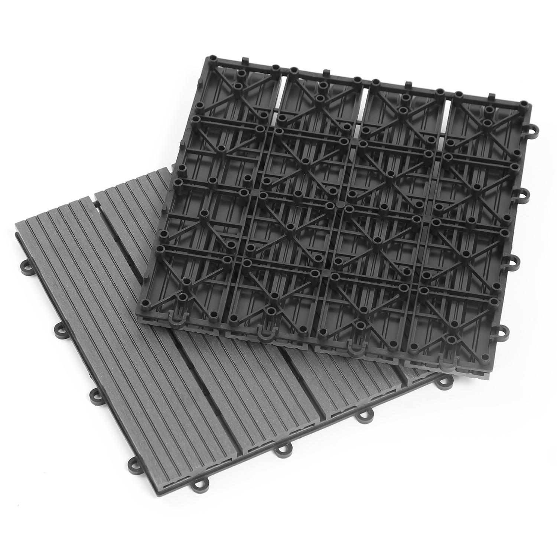 Dalle En Bois Jardin dalles de terrasse x5 clipsables bois composite gris idmarket