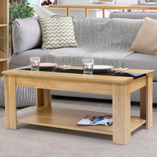 Table basse contemporaine bois noir et imitation hêtre GLORIA