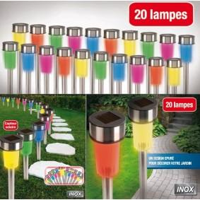 Lot de 20 bornes Multicolores lampes led solaires inox