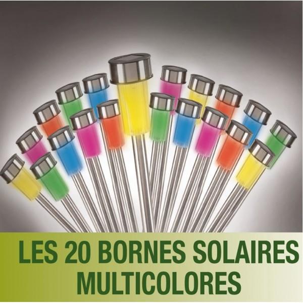 lot de 20 bornes multicolores lampes led solaires inox les pros de la b che. Black Bedroom Furniture Sets. Home Design Ideas