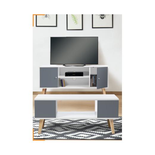 TV TABLE EFFIE MEUBLE BLANCHE GRIS1 PRIX ET DE 1 LA BASSE GRISE COLLECTION BLANC A ET SÉDUISANT eE2WH9DIY