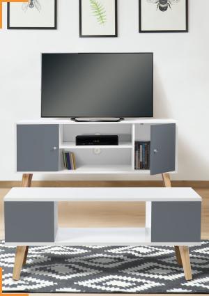 1 MEUBLE TV BLANC ET GRIS + 1 TABLE BASSE BLANCHE ET GRISE DE LA COLLECTION EFFIE A PRIX SÉDUISANT !