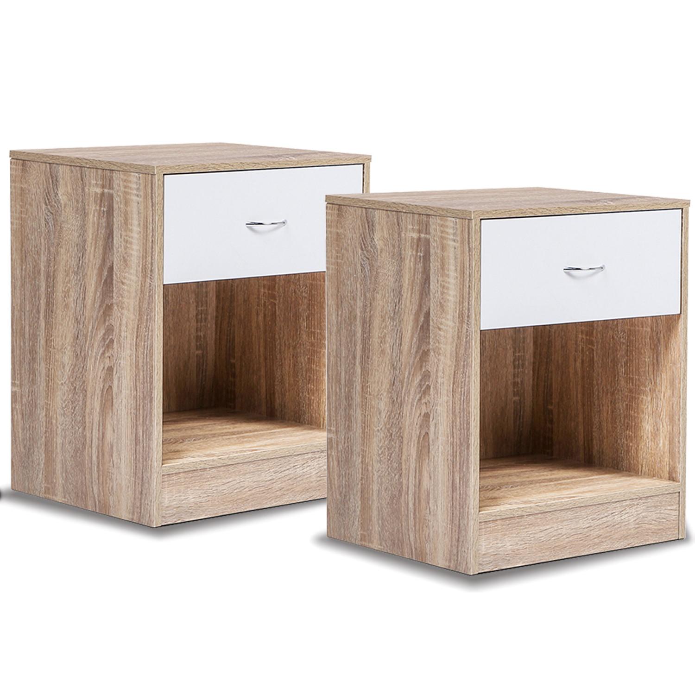2 tables de chevet bois et hetre 2 lampes de chevet - Table de chevet classique ...