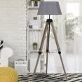 Lampadaire trepied bois réglable avec abat-jour gris