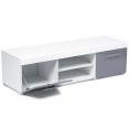Meuble TV contemporain PORTLAND blanc / portes grises