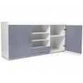 Buffet contemporain PORTLAND blanc / portes grises
