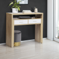 Bureau extensible bois blanc et imitation hêtre