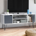 Meuble TV vintage NOEMI pied épingle blanc portes grises