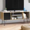 Meuble TV vintage NOEMI pied épingle bois portes noires