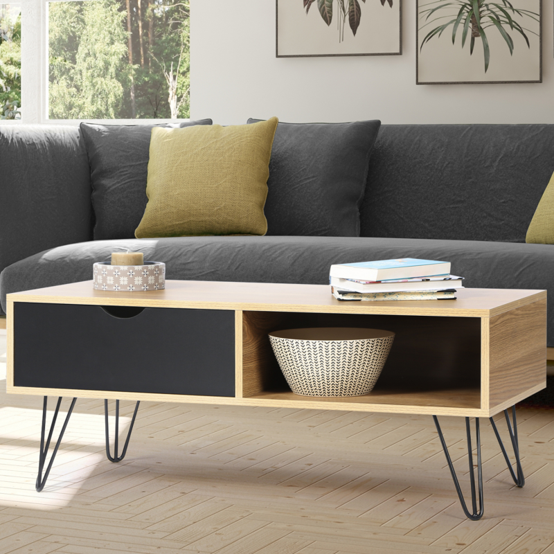 table basse vintage noemi bois pied pingle. Black Bedroom Furniture Sets. Home Design Ideas