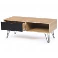 Table basse vintage NOEMI pied épingle bois tiroir noir