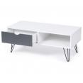 Table basse vintage NOEMI pied épingle blanc tiroir gris