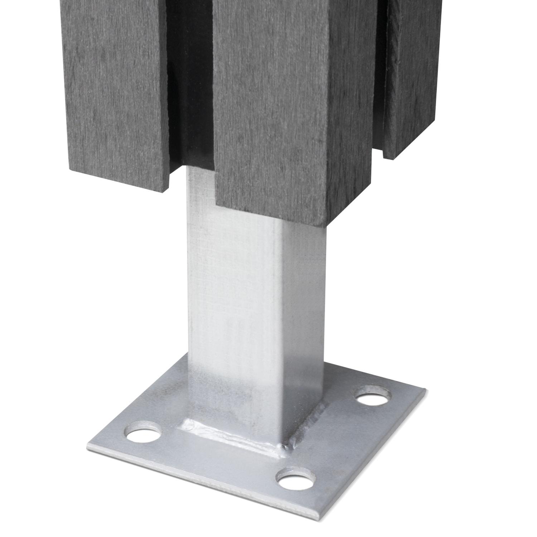 Brise Vue Bois Sur Pied kit incliné panneau occultant en bois composite gris 100 x 107-188