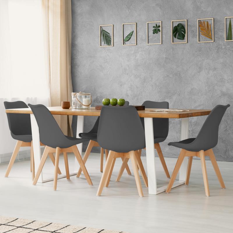 Table A Manger Avec Chaise Pas Cher.Chaises Scandinaves Grises Et Pied Bois Pas Cher Id Market