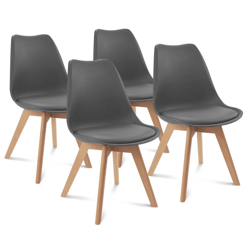 Lot de 4 chaises SARA gris foncé pour salle à manger