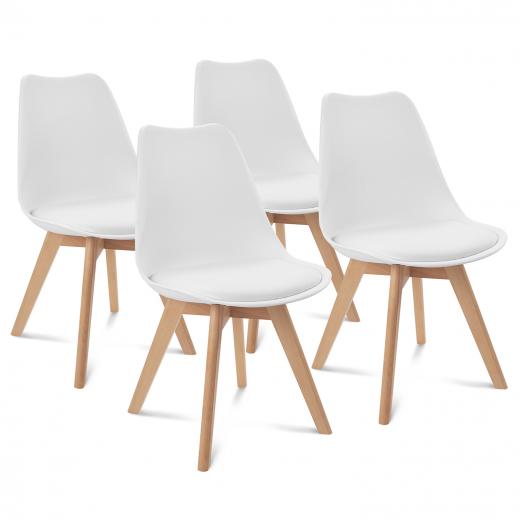 Chaises X4 Sara Blanches Pour Salle A Manger Design Scandinave
