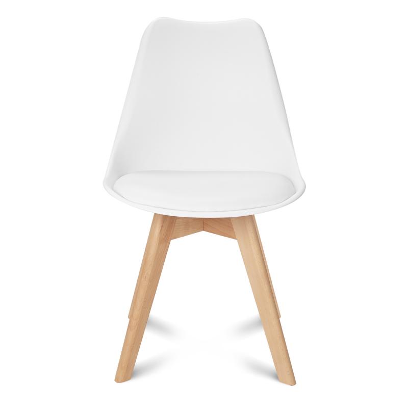 Chaises scandinaves blanches et pied bois pas cher | ID Market