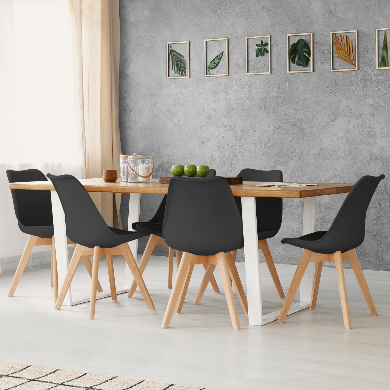 Lot de 4 chaises SARA noires pour salle à manger IDMarket