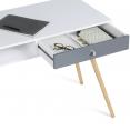 Bureau scandinave EFFIE bois blanc tiroir gris
