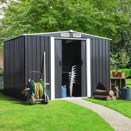 Abri de jardin 5.3 m² gris en acier galvanisé avec base