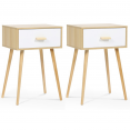 Lot de 2 tables de chevet bois et blanches scandinaves