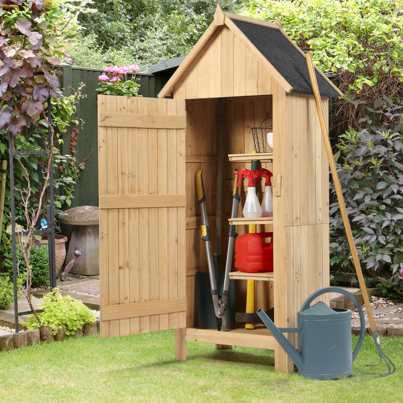 armoire cabane de jardin en bois naturel. Black Bedroom Furniture Sets. Home Design Ideas