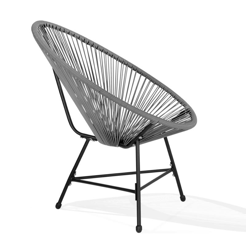 fauteuil de jardin izmir gris x2 design oeuf avec cordage. Black Bedroom Furniture Sets. Home Design Ideas