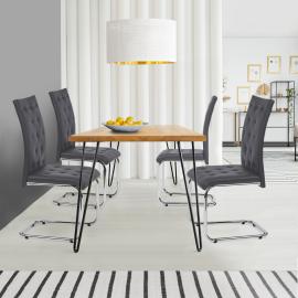 Lot de 4 chaises MIA capitonnées grises pour salle à manger