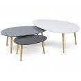 Lot de 3 tables basses gigognes laquées blanc / gris