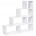 Bibliothèque escalier Lina 4 niveaux bois blanc 114 cm