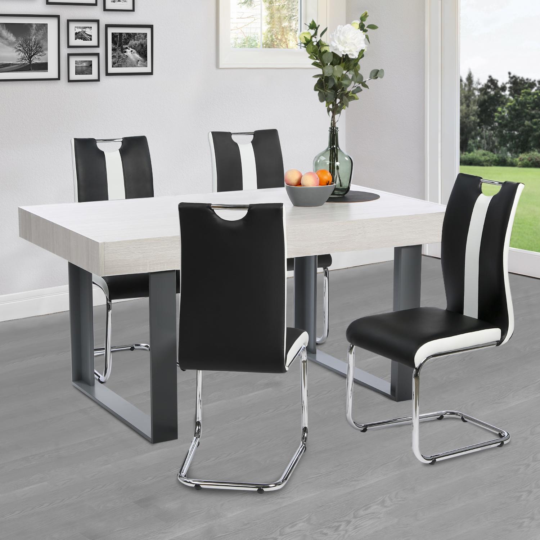 Lot de 4 chaises PIA noires et blanches pour salle à manger IDMarket