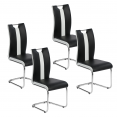 Lot de 4 chaises PIA noires et blanches pour salle à manger