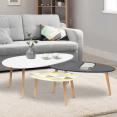 Lot de 3 tables basses gigognes laquées blanc / gris / motifs graphiques