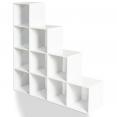 Meuble escalier 4 niveaux bois blanc + fond blanc