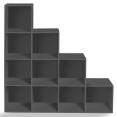 Meuble escalier 4 niveaux bois gris + fond gris