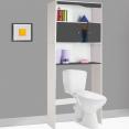 Meuble étagère wc ou machine à laver bois gris et blanc