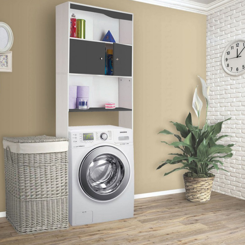 Rangement Machine À Laver meuble étagère dessus wc bois coloris gris idmarket