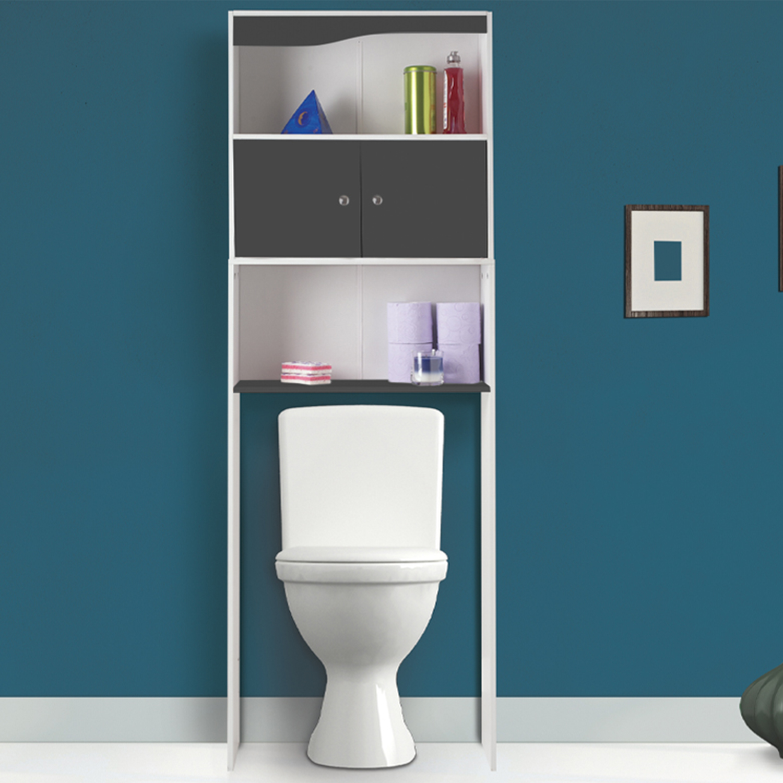 Lave Main Sur Wc Existant meuble étagère dessus wc bois coloris gris idmarket