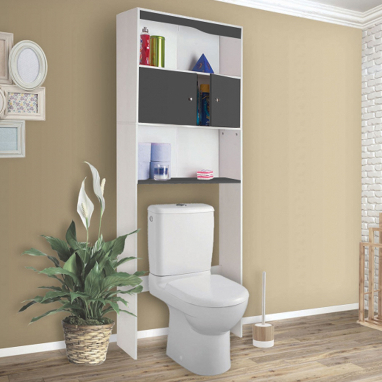 Toilette Gris Et Blanc meuble étagère dessus wc bois coloris gris idmarket