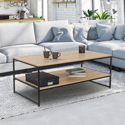 Table basse DETROIT design industriel double plateau 113 CM
