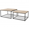 Table basse DETROIT design industriel gigogne x2 70*70cm et 60*60cm